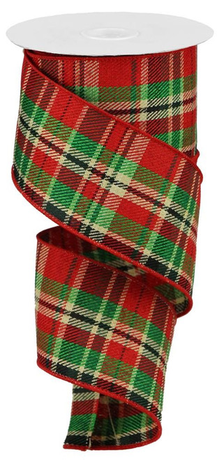 "2.5"" Red/Green/Cream/Blk Plaid Ribbon"