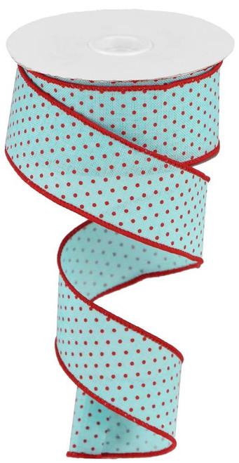 "1.5"" Raised Swiss Dot Ribbon: Ice Blue/Red - 10yd"