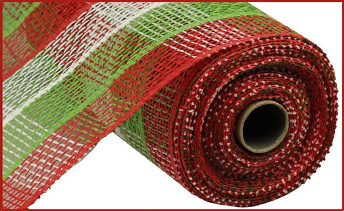 "10"" Poly Burlap Check Mesh: Red/Lime/Wht"