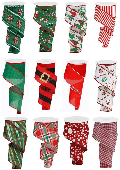 "2.5"" Holly Jolly Christmas Ribbon Assortment, Box of 12"