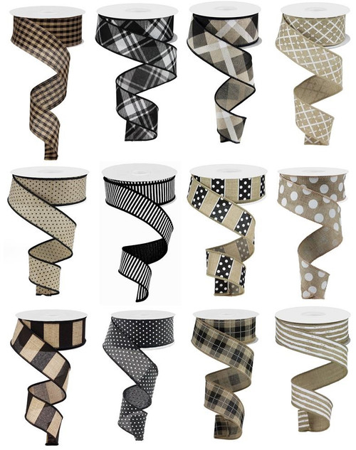 "1.5"" Neutral Ribbon Assortment, Box of 12"