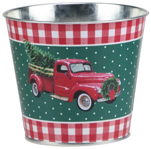 "5"" Vintage Truck w/ Tree Pot Cover: Red/Wht/Emerald"