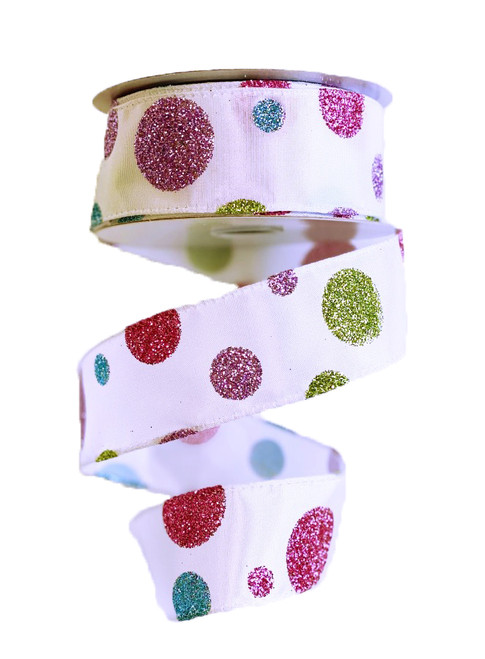 "1.5"" White Satin Pink/Blue/Lime Glitter Dot Ribbon - 10 Yds"