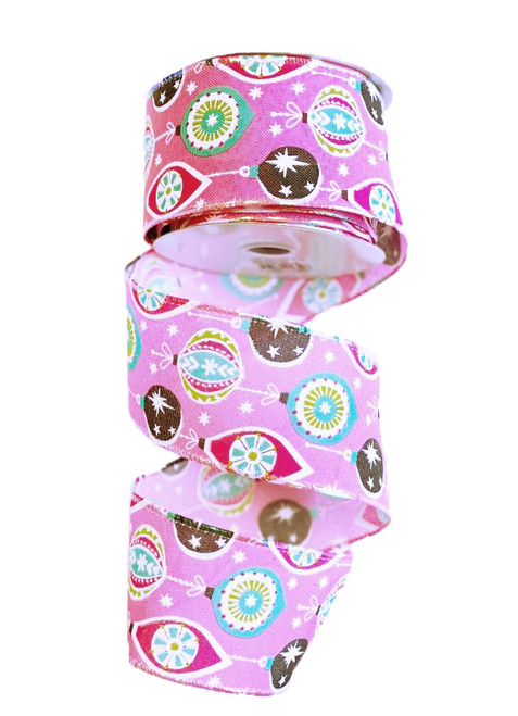 "2.5"" Vintage Ornament Ribbon: Pink - 10yd"