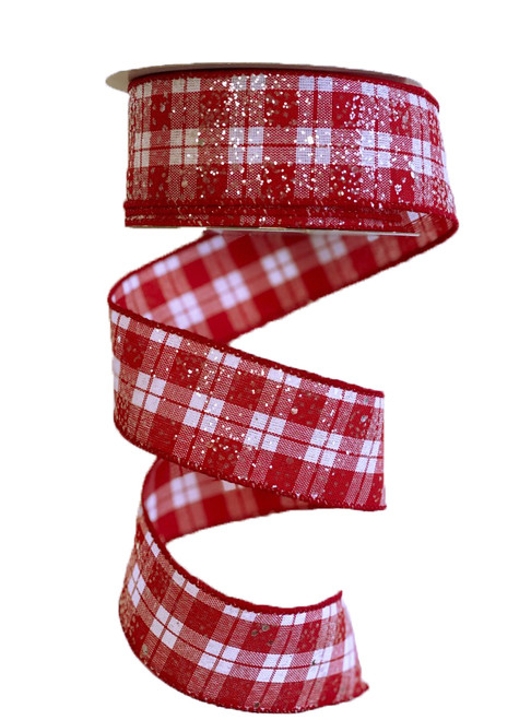 """1.5"""" Frosted Glitter Red/White Plaid Ribbon - 10yds"""
