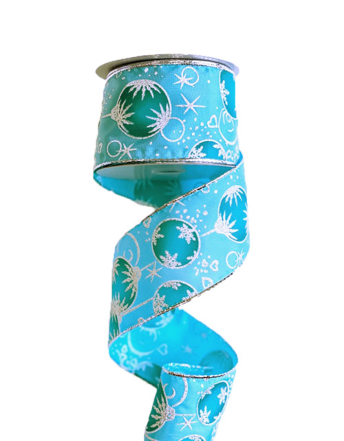 "2.5"" Aqua Snowy Ornament Ribbon - 10 yards"