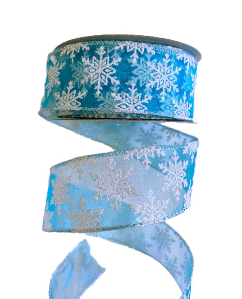 "1.5"" Turquoise/White Sheer Snowflake Ribbon - 10 Yds"