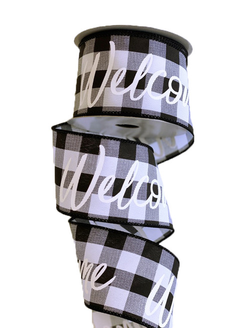 "2.5"" Blk/Wht Check Welcome Ribbon - 10yds"