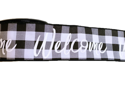 """2.5"""" Blk/Wht Check Welcome Ribbon - 10yds"""