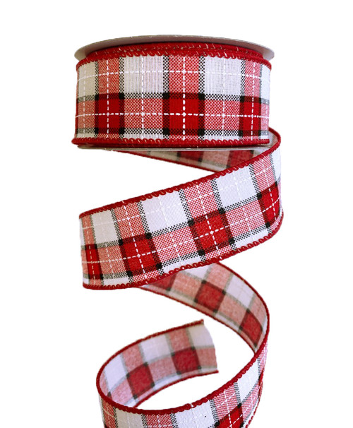 "1.5"" Woven Check Ribbon: Red/Cream/Blk - 10Yds"