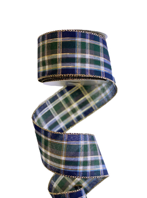 "2.5"" Navy/Green/Gold Plaid Ribbon"