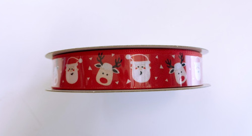 "5/8"" Red Satin Santa Reindeer Ribbon 10yds"
