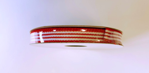"3/8"" Red/White Iridescent Stripe Ribbon 10yds"