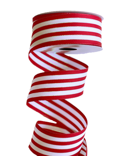 "1.5"" Red/White Iridescent Stripe Grosgrain Ribbon - 10 Yds"
