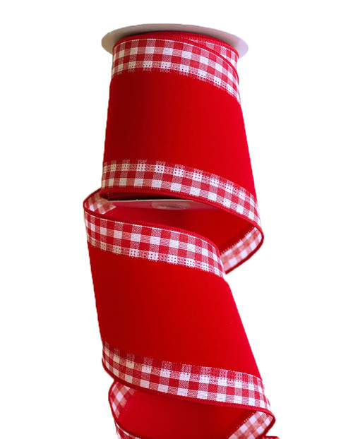 "4"" Red Velvet Gingham Edge Ribbon - 10yd"