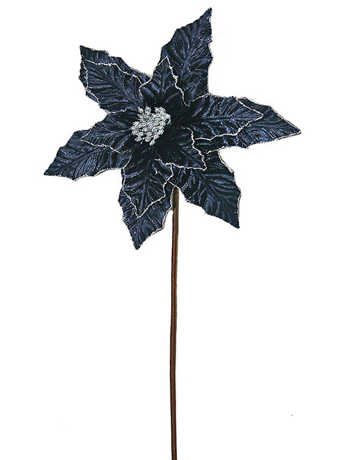 "24"" Glitter Edge Velvet Poinsettia Stem: Navy Blue"