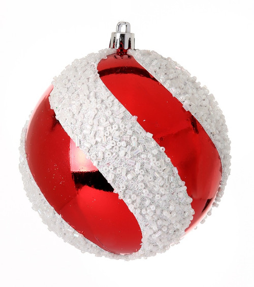 100mm Red/Wht Candy Swirl Ball Ornaments, Box of 3