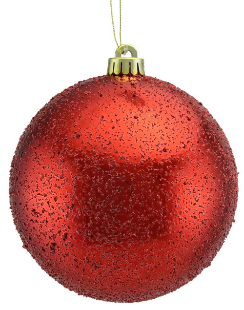 100mm Ice Ball Ornament: Red