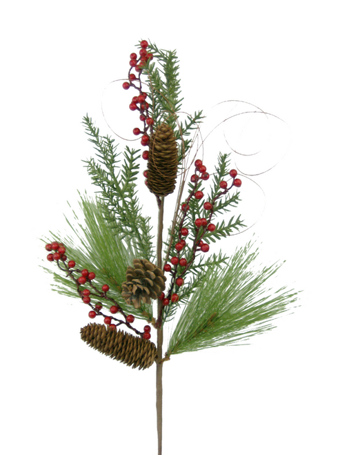 "29"" Pine Cone Berry Spray"
