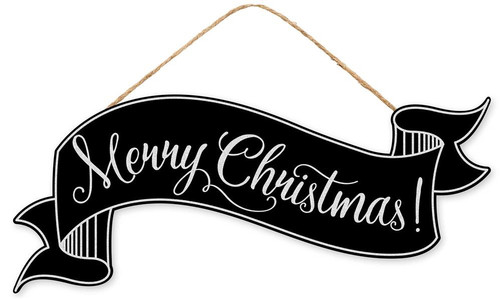 "15"" Merry Christmas Banner Sign: Blk/Wht"