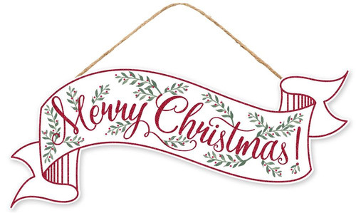"15"" Merry Christmas Banner Sign: Wht/Red"