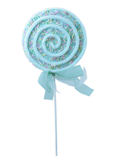 "22"" Chenille Sprinkle Lollipop Pick: Blue"