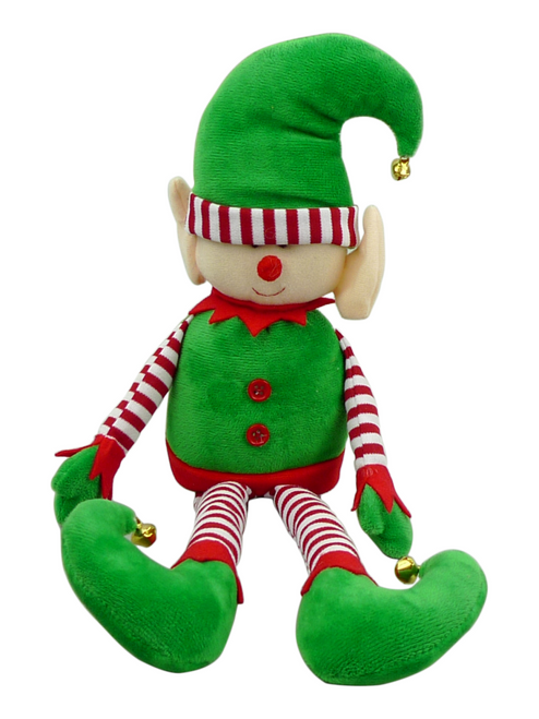"15"" Plush Striped Elf: Emerald/Red"