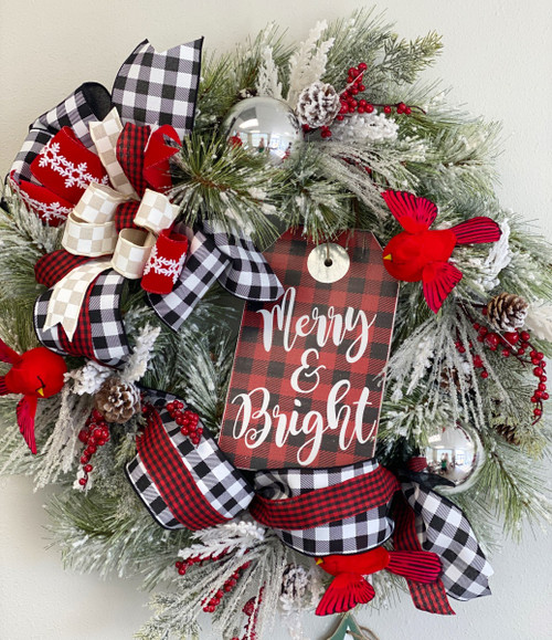Buffalo Check Merry Christmas Wreath