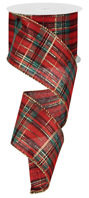 "2.5"" Christmas Plaid Ribbon: Red/Green/Gold  - 10Yds"