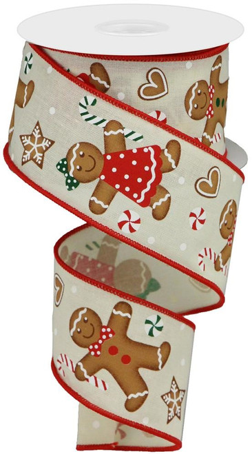 "2.5"" Gingerbread Ribbon: Cream - 10Yds"