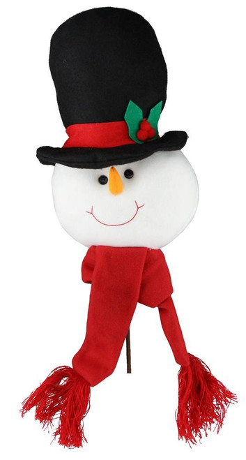 "22"" Plush Snowman Head Pick: Black/Red"