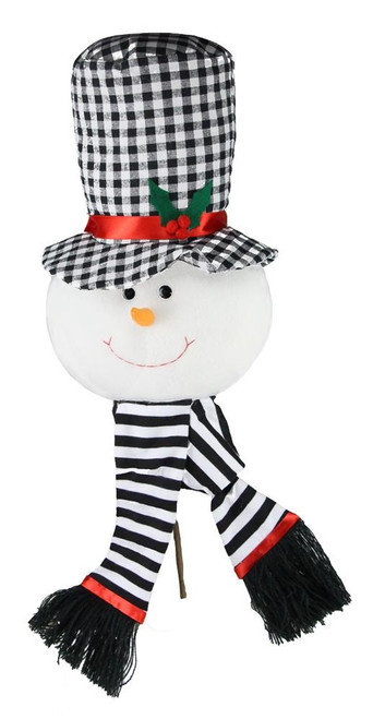 "22"" Plush Snowman Head Pick: Black/Wht"