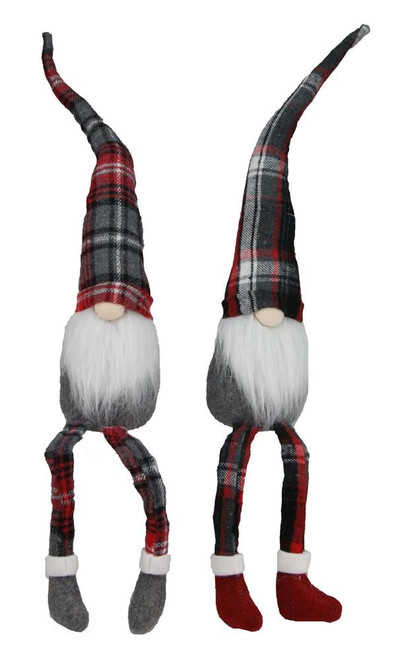 "17"" Plaid Dangle Leg Gnomes"