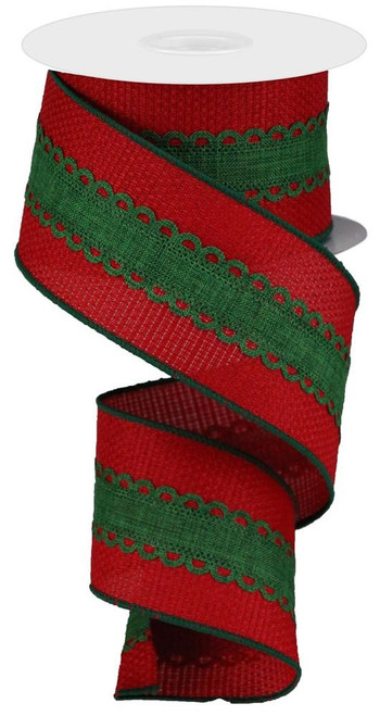"2.5"" Emerald Lace on Red Faux Burlap Ribbon"