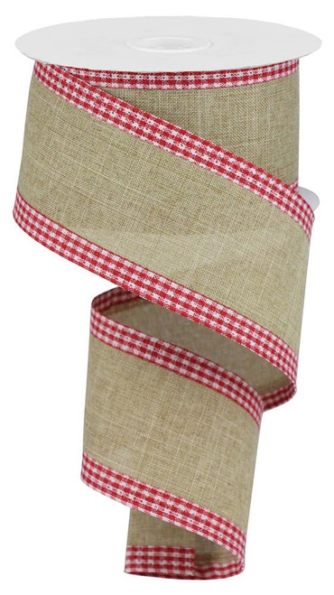"2.5"" Solid Linen Gingham Edge Ribbon: Lt Beige/Red/Wht"