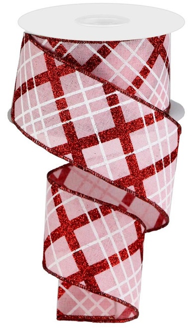 "2.5"" Diagonal Glitter Plaid Ribbon: Pink/Red/White - 10yd"