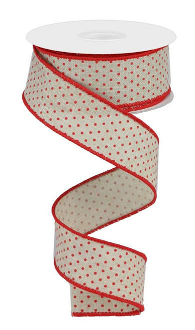 "1.5"" Raised Swiss Dot Ribbon: Lt Beige/Red - 10yd"
