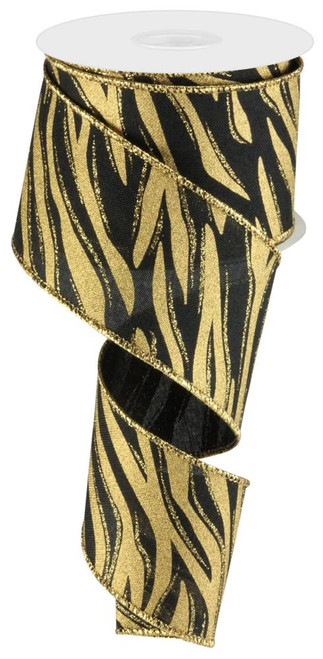 "2.5"" Zebra Print Ribbon: Black/Gold - 10yd"