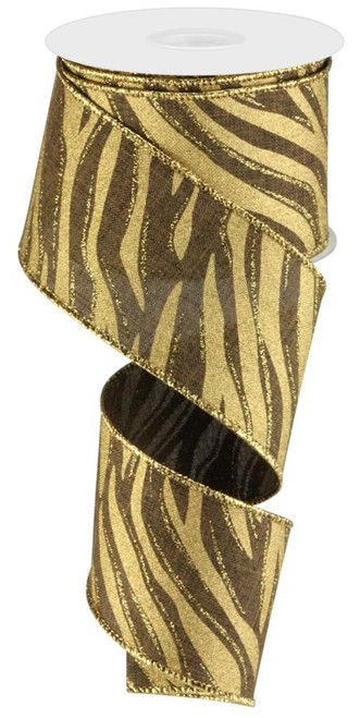 "2.5"" Zebra Print Ribbon: Brown/Gold - 10yd"