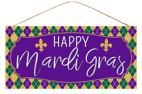 "12.5"" Mardi Gras Argyle Sign"