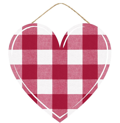 "12"" Red Plaid Heart Hanger"