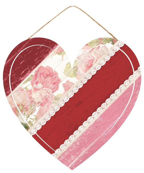 "12"" Diagonal Stripe Floral Heart"