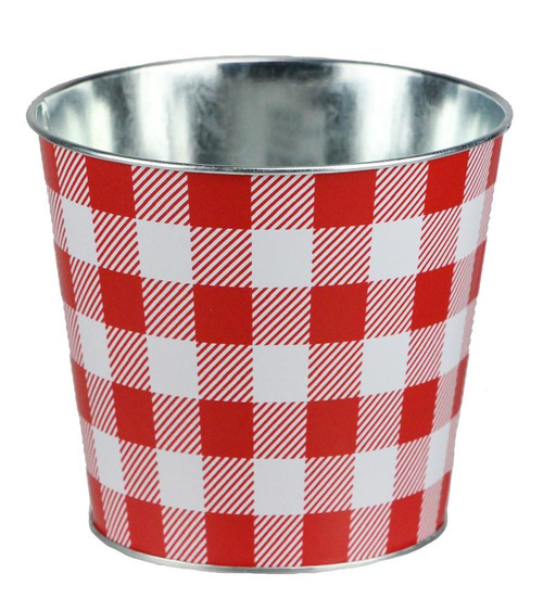 "5"" Check Pot Cover: Red/White"