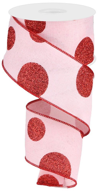 "2.5"" x 10yd Linen Giant Dot Ribbon: Pink/Glitter Red"
