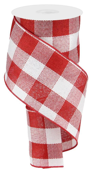 "4"" Large Woven Check Ribbon: Red/White - 10Yds"