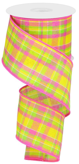 "2.5"" Spring Woven Plaid Ribbon: Yllw/Pink/Lime"