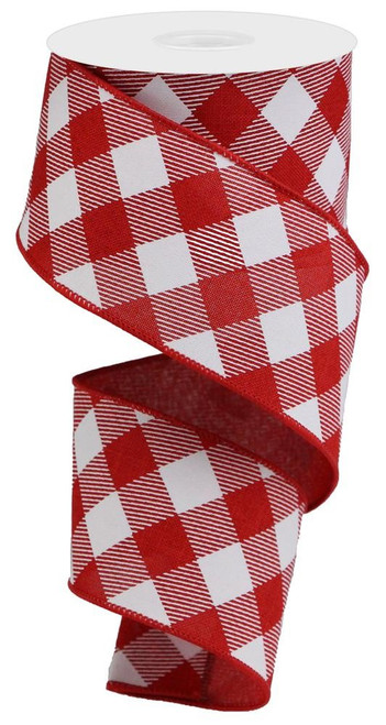 "2.5"" Diagonal Check Ribbon: Red/White - 10Yds"