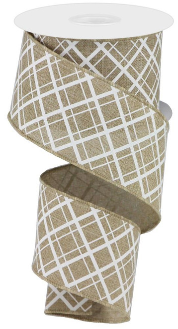 "2.5"" Thick/Thin Diagonal Check Ribbon: Lt Beige/White- 10Yds"