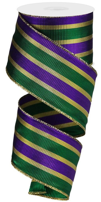 "2.5"" Metallic Mardi Gras Stripe Ribbon - 10yd"