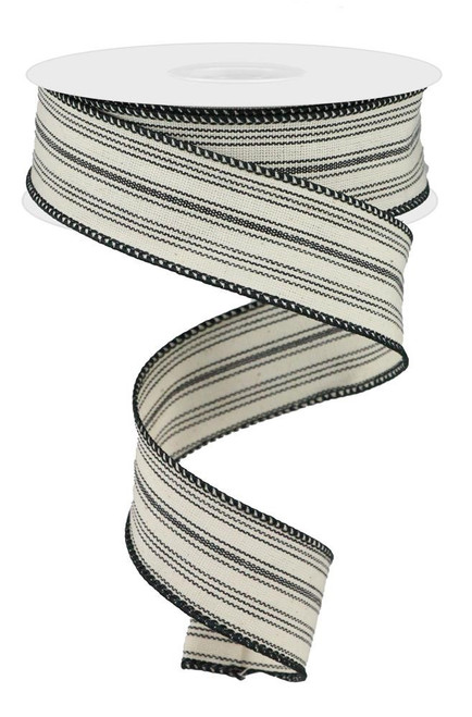 "1.5"" Ticking Stripe Ribbon: Black/Beige - 10yds"